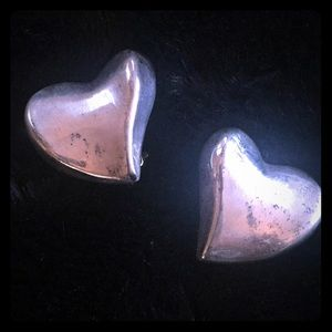 Jewelry - Sterling silver heart clip on earrings